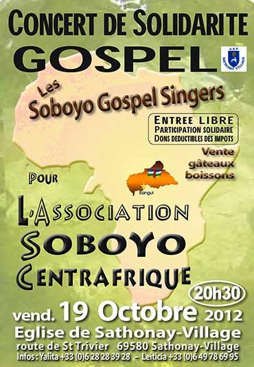 Affiche du concert de gospel du 19 Octobre 2012 en faveur du Centrafrique